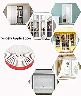 Goma de aislamiento autoadhesivo para puertas profesionales, impermeable, resistente al polvo, resistente al viento (tipo D 6 m), color blanco: Amazon.es: Bricolaje y herramientas