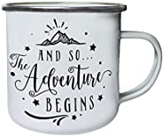 and So The Adventure Begins Retro,Tin, Enamel 10oz Mug j245e