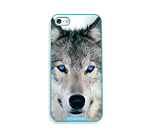 Blue Eyed Wolf Face Wolves Aqua Plastic Case For Sam Sung Galaxy S4 I9500 Cover - Fits Case For Sam Sung Galaxy S4 I9500 Cover