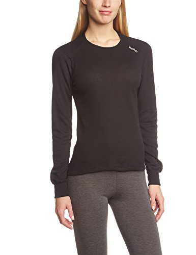 Odlo Damen Funktionsunterwäsche Langarm Crew Neck Warm, Black, M, 152021