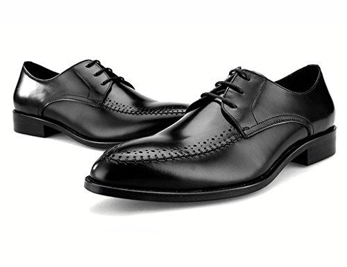 HWF Scarpe Uomo in Pelle Maschio Scarpe Di Cuoio Abbigliamento Formale Ha Indicato I Pattini Lace Maschile Stile Britannico (Colore : Nero, dimensioni : EU43/UK8) Nero