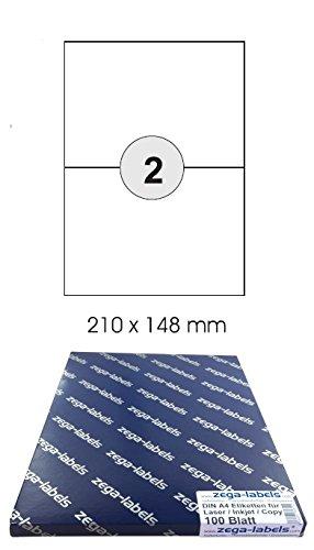 1x2 Etiketten DIN A5 210x148mm 2-teilig 200 Etiketten 210 x 148 mm selbstklebend auf DIN A4 B/ögen - 100 Blatt Pack Universell f/ür Laser//Inkjet//Kopierer einsetzbar