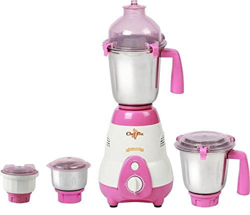 Chef Pro CMG617 Mixer Grinder with 4 Stainless Steel Jars, 750 W, White with Purple
