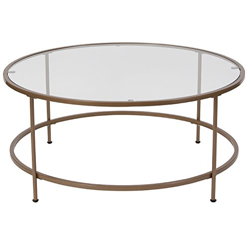 ria Collection Glass Coffee Table with Matte Gold Frame ()