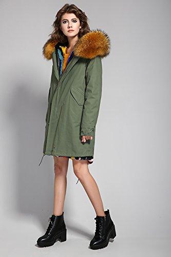 invierno pelaje extraíble piel ejército conejo Cuello de mujer de de extraíble con capucha S Tan de Verde del Forro y ROMZA mapache abrigo Z84PBwXq
