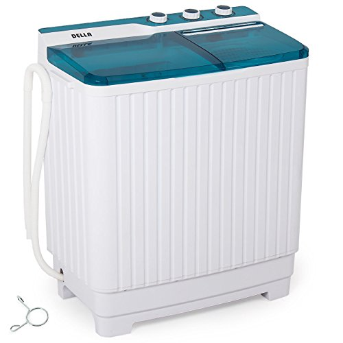 Della Portable Mini Compact Twin Tub Washing Machine Washer Spin Dryer Cycle (9KG) with BUILT-IN PUMP (Machine Dry Washer)