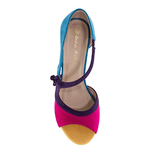Andres Machado AM5247 Multicolor Suede Sandals.Petite&Large Sizes: UK 0.5 to 2.5/EU 32 to 35 - UK 8 to 10.5/EU 42 to 45. Blue Multicolor Suede tjApfU2ua