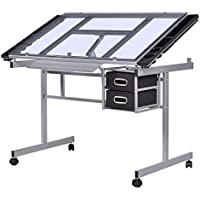 Adjustable Rolling Drawing Desk Drafting with Table Tempered Glass Top