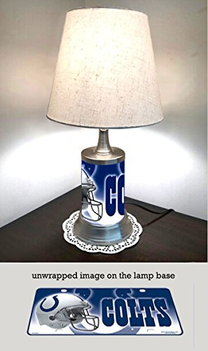 - JS Table Lamp with Shade, Indianapolis Colts Plate Rolled in on The lamp Base