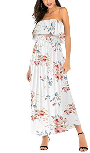 (MIDOSOO Womens Summer Strapless Floral Party Dress Vintage Loose Beach Maxi Dress with Pocket-Flower White-M)