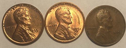 1951 P D S Lincoln Wheat Pennies Cents AU