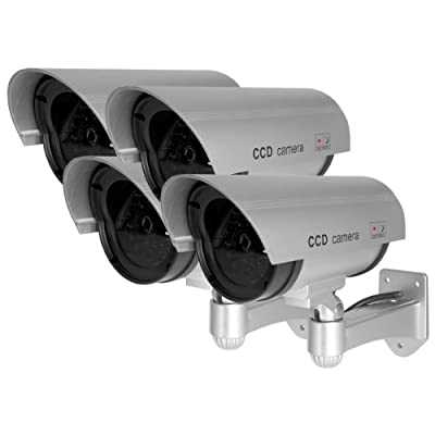 Best Vision DUM-102-S 4-Pack Wireless Dummy Bullet Security Camera Silver - Flashing Red Light - Outdoor