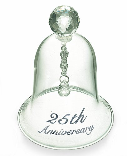 Wedding Glass Bell - Russ 25th Anniversary Glass Bell, 4-Inch