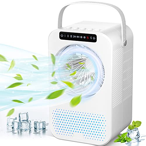 Personal Air Cooler, Portable Air Conditioner Fan, Evaporative Mini Cooler Desk Fans with 600ML Water Tank and 3 Speeds…