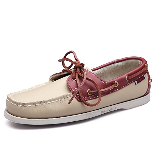 EnllerviiD Men Classic Two-Eye Boat Shoes Slip-On Driving Moccasins Flat Leather Loafers 9022 White Red AH5BTSy