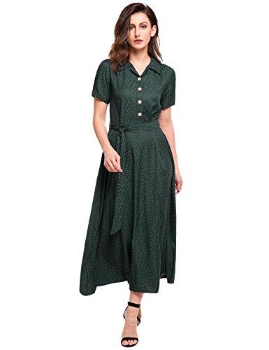 ACEVOG Women Vintage Style Turn Down Collar Short Sleeve High Waist Maxi Swing Dress Belt