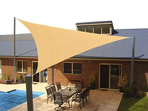 Heavy Duty Triangle Sun Shade Sail, UV Block Canopy Shelter for Outdoor Patio Garden Deck Backyard 12' x 12'x 12' Sand Color 5 Years Warranty by Coconut