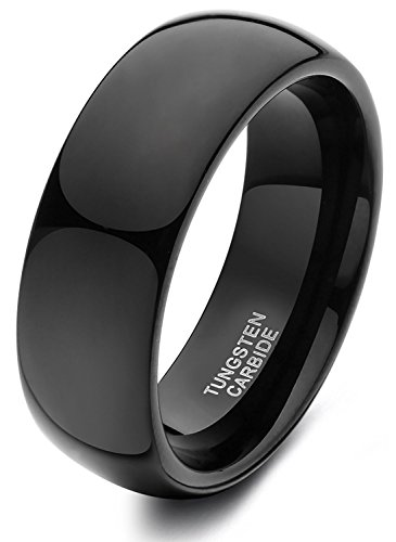 Black Tungsten Ring for Men Women Dome High Polished Comfort Fit Wedding Band 8mm
