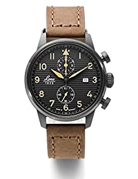 Laco Engadin Two-Eye Chronograph Watch with 42mm PVD Case and Corrugated Dial 861976