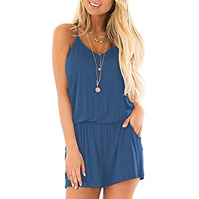 MISFAY Womens Summer Loose V Neck Spaghetti Strap Short Jumpsuit Rompers: Clothing