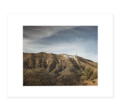Hollywood Sign Wall Art, Tinseltown Landscape Decor in Los Angeles, 8x10 Matted Print, - Offers Email Free Up For Sign