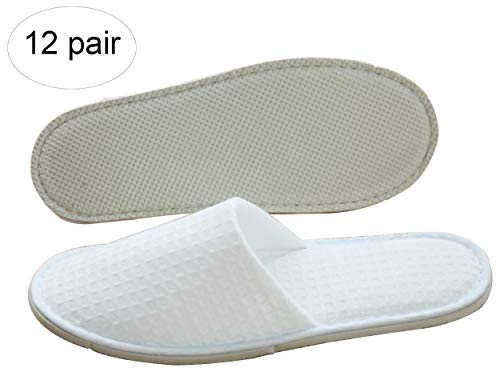 Three Artisans Featured Waffle Closed Toe Disposable Spa Hotel Slippers Individually Packed For Men and Women 12 Pack (Toe Waffle)