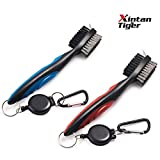 Pack of 2 Golf Club Brush Groove Cleaner with Retractable Zip-line and Aluminum Carabiner Cleaning Tools