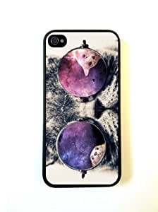 Galaxy Hipster Cat Case - iPhone 4 Case - iPhone 4S Case - Hard Plastic Case by ruishername