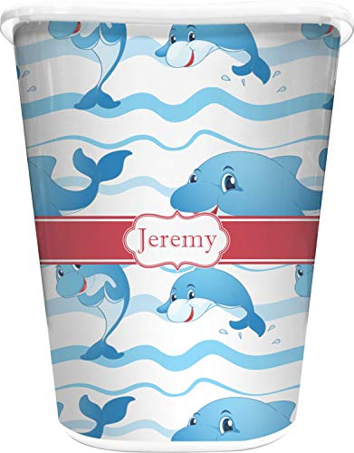 (RNK Shops Dolphins Waste Basket - Double Sided (White) (Personalized))