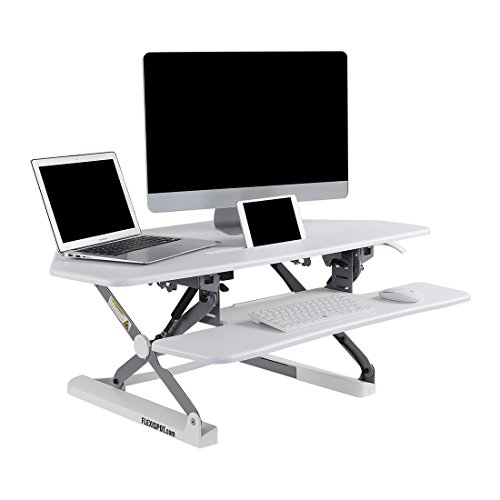 FlexiSpot 41 Standing Desk Converter with Quick Release Keyboard Tray Computer Desk,White (M4W)