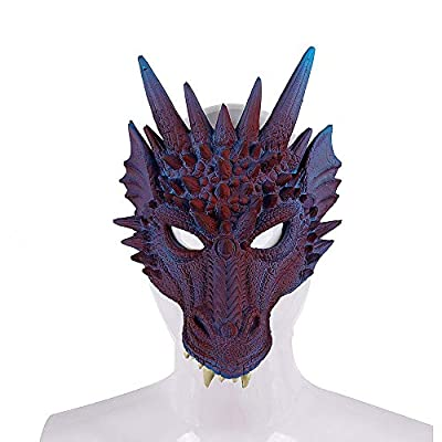 Himine Cosplay Mask Dragon's Head Mask for Festival Party Halloween (Purple): Toys & Games