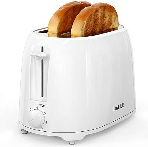 "Toaster HOMEVER 2 Slice Toaster, 7 Temperature Settings toaster, 1.5"" Extra Wide Slots Toaster, 900W, TXT-044 White"