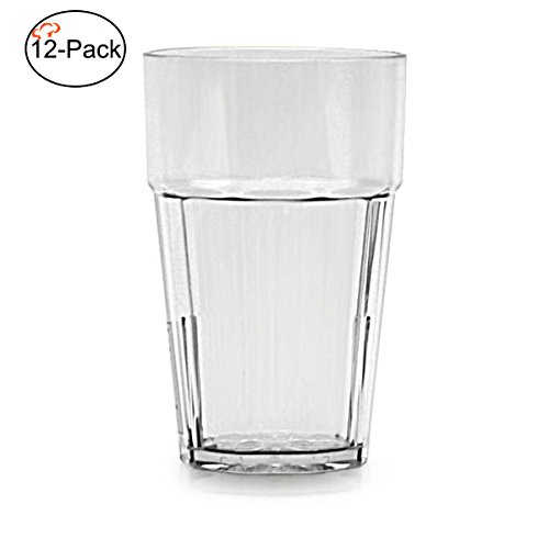 Tiger Chef Premium Quality, 14-ounce, Clear Glass Like Unbreakable Plastic Tumbler Set, Diamond Stackable Tumblers Dishwasher Safe (12 Pack)