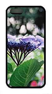 Blue Flowers In The Field TPU Case Cover for iPhone 5 and iPhone 5s Black