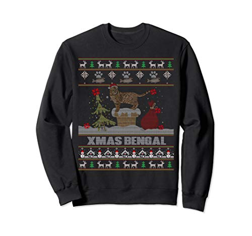 Funny Ugly Sweater Xmas Sweatshirt For Bengal cat Lovers