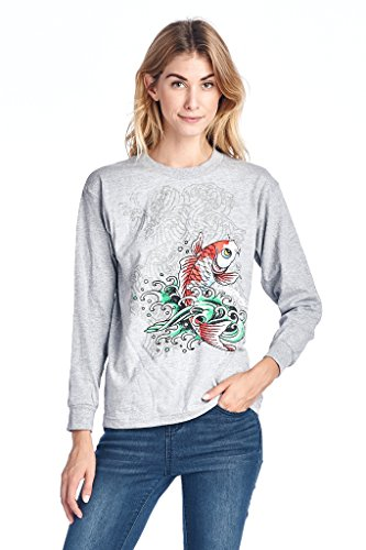 Ed Hardy Big Girls Juniors T Shirt Long Sleeve Koi Fish Print Gray Medium