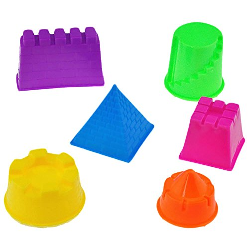 WEKA Set of 6 Multicolor Small Kinetic Motion Sand Castle Building Model Mold Beach Toys for Baby Kids Child