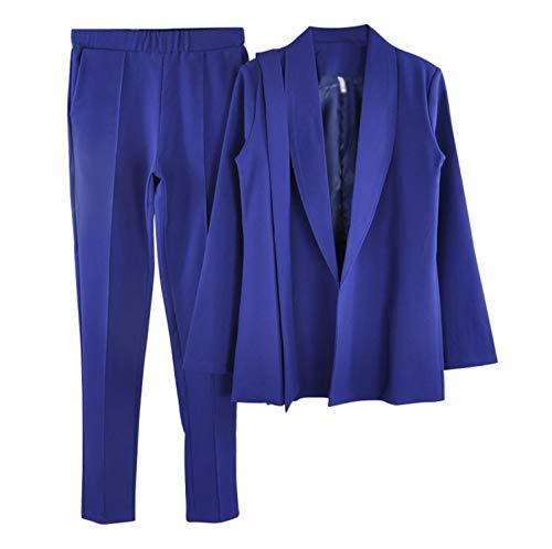 Comradesn Tuta Blue Cintura Donna A Con V Giacche Due Giacca Ufficio Pantaloni Pezzi 2 Da Royal Cappotti E Scollo 118OUWnrq