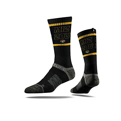 Strideline NCAA Missouri Tigers Premium Athletic Crew Socks, One Size, Black ()
