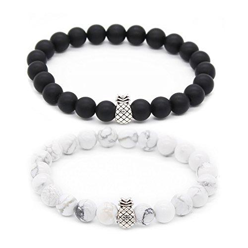 POSHFEEL Pineapple Charm Bracelets for Lovers Couple Black Matte Agate & White Howlite 8mm Beads Bracelet, 7.6+7.2 Black&White