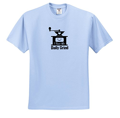 Price comparison product image 3dRose Russ Billington Designs - Funny Coffee Grinder Design In Black On White - T-Shirts - Youth Light-Blue-T-Shirt XS(2-4) (TS_262259_59)