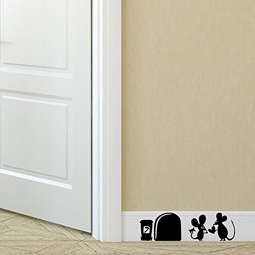 (Snowfoller Two Mouse Wall Corner Stickers Removable Art Vinyl Wall Decals for Kids Girl Boy Baby Nursery Classroom Children's Room Decor (Black) )