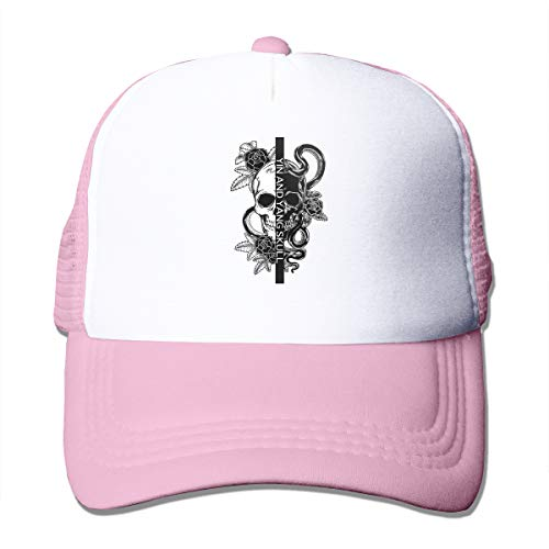 MagniFun Trucker Hats Tattoo Designs Yin Yang Symbol, Printed Adjustable Mesh Snapback Hat Baseball Cap Unisex for Outdoors Sport Pink ()