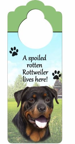 "Rottweiler Wood Sign ""A Spoiled Rotten Rottweiler Lives Here""with Artistic Photograph Measuring 10 by 4 Inches Can Be Hung On Doorknobs Or Anywhere In Home"