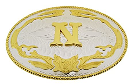 Initial Letter N Western Style Cowboy Rodeo Gold Costume Halloween Belt Buckle (Hebillas De Rodeo)