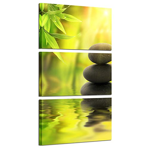 Art Garden Canvas (Kreative Arts - Zen Stone Canvas Wall Art Spa Still Life with Green Bamboo Painting Pictures in Garden 3 Panel Vertical Giclee Art Work Contemporary for Home Decoration 12x20inchx3pcs)
