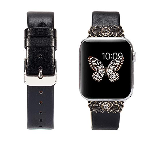 Wearlizer Black Leather Compatible with Apple Watch Band 42mm 44mm for iWatch Womens Embellishment Strap Replacement Classic Decoration Wristband Beauty Bracelet (Silver Metal Clasp) Series 4 3 2