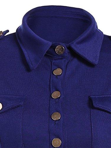 Coolred Femmes Solide De Couleur Bleu Robe À Volants Unique Poitrine Premium