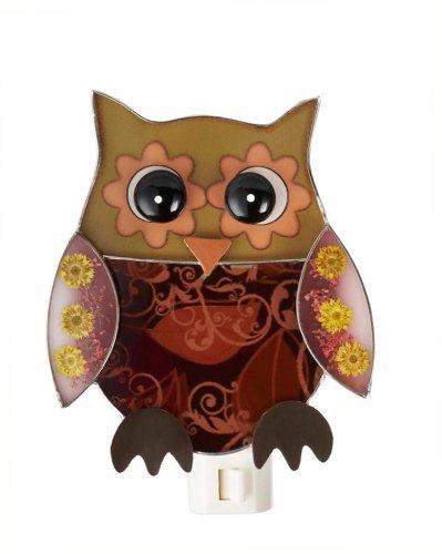 Night Owl Bird (Yellow Owl With Dried Flowers NightLight by Ganz)