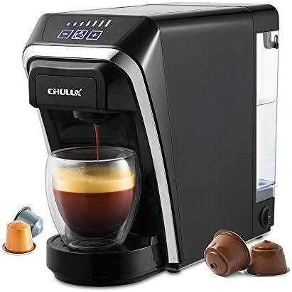 CHULUX Macchina da caffè a capsule – 12 oz – Compatibile con cialde e filtri riutilizzabili – Spegnimento automatico – Controllo a un pulsante